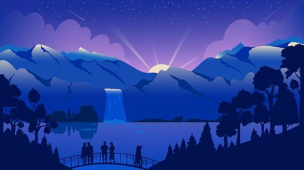 山の夜の風景旅行冒険観光客は滝の穏やかな湖を楽しむ