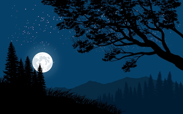 Mountain night landscape with full moon