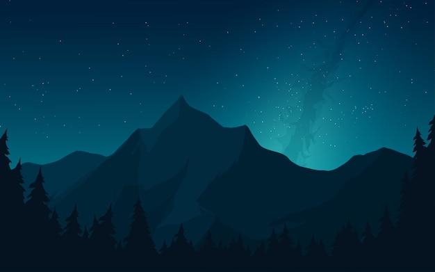 은하수와 산 밤 풍경