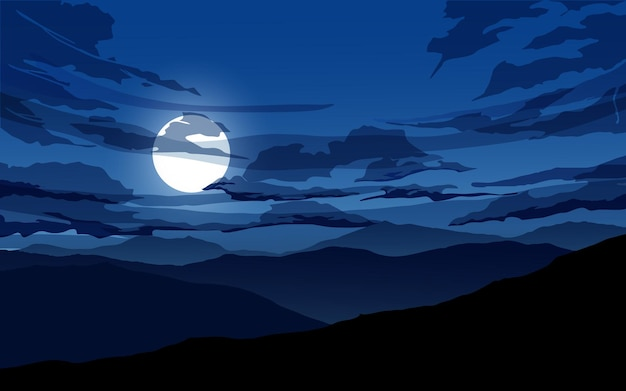 Mountain night sky landscape with clouds and moon