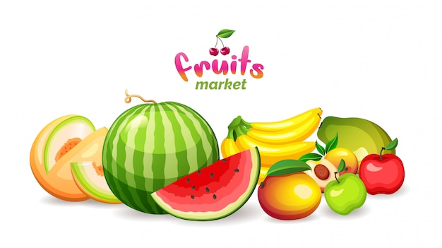 Гора плодоовощей на белой предпосылке, логотип магазина рынка плодоовощ, иллюстрация.