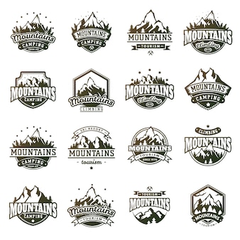 Mountain outdoor badge set
