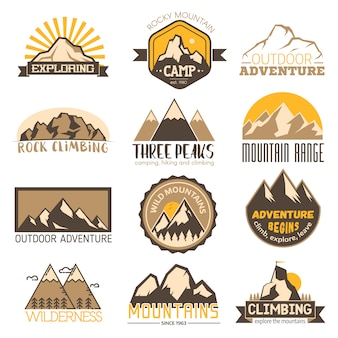 Mountain outdoor vector travel badge set
