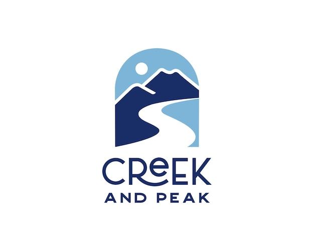 マウンテンピークとクリークのロゴデザインテンプレート