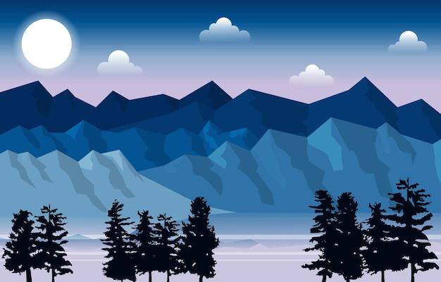 Гора пик сосны ели природа пейзаж приключения иллюстрация