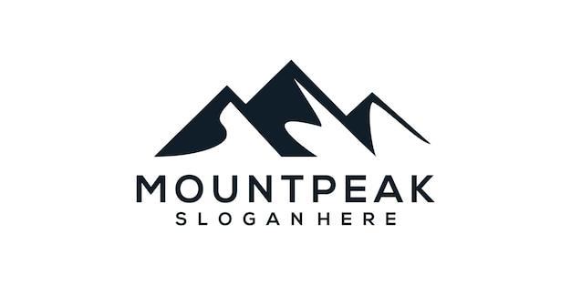 山頂シルエットロゴ Premiumベクター