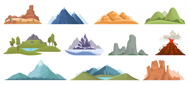 Mountain peaks. snow ice tops, green hills and volcano outdoor landscape, hiking, climbing mountain valley view  illustration set. mountain rocky, top terrain, wild outdoor peak