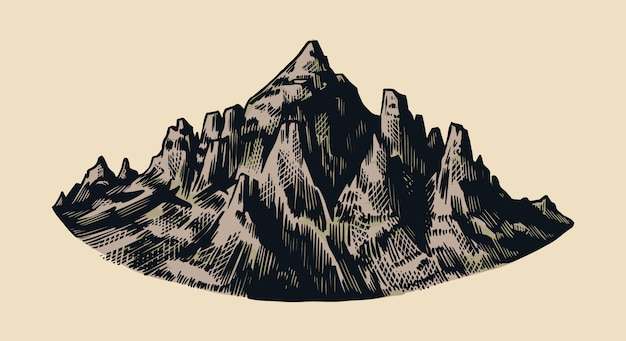 Mountain peaks, vintage rock, old highlands range. chamonix-mont-blanc. hand drawn vector alps sketch in engraved style.