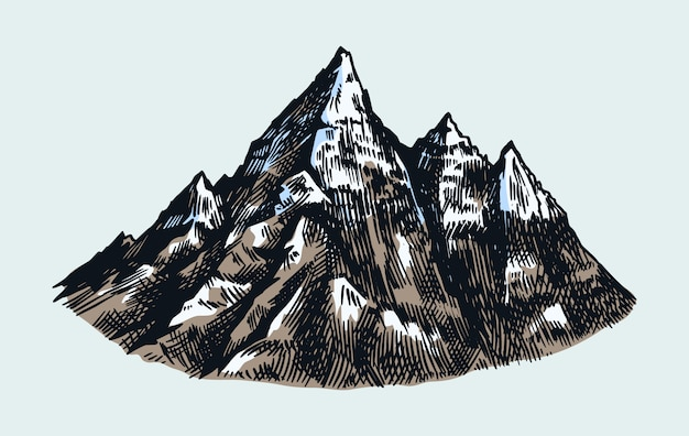 Mountain peaks, vintage rock, old highlands range. hand drawn vector outdoor sketch in engraved style.