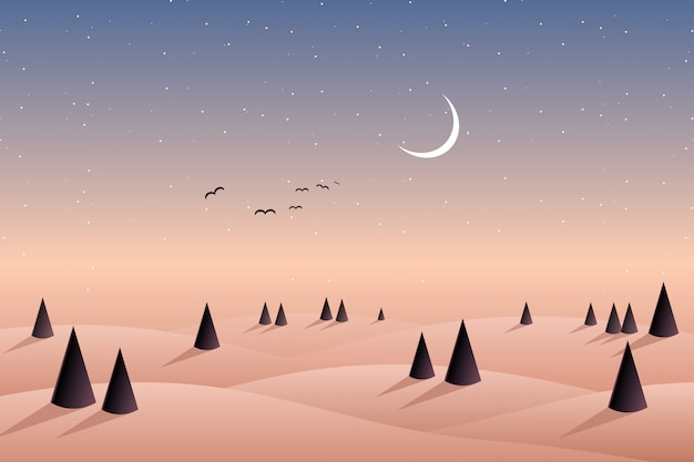 Mountain of pine forest hill and night sky background