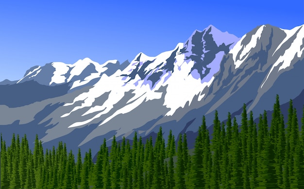 Mountain and pine forest illustration