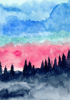 Mountain pine trees and blue sky with watercolor background