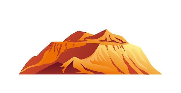 사막 고립 된 만화 아이콘 벡터 자연 풍경 정상에 산 고원 산 풍경