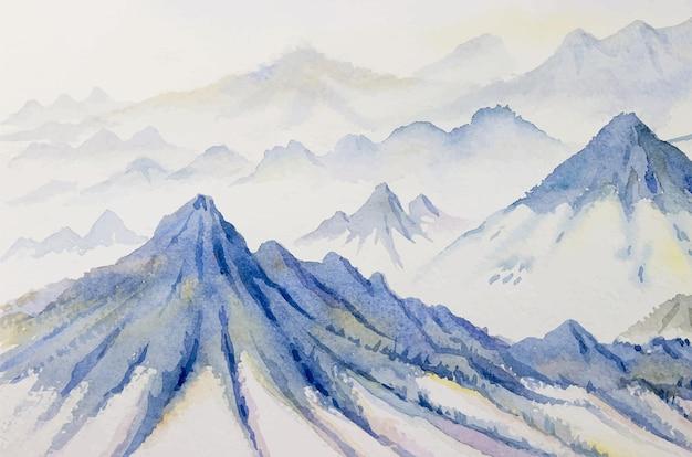 Горный хребет абстрактная акварель живопись иллюстрация вектор пейзаж высокие скалистые и снег
