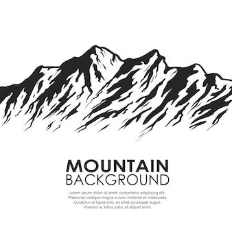 Горный хребет, изолированные на белом фоне. черно-белые огромные горы. векторная иллюстрация с копией пространства.