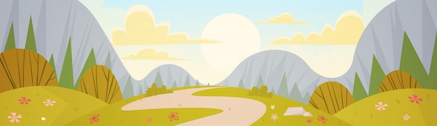 Mountain range spring landscape country road nature background