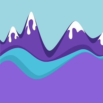 雪に覆われた山頂のある山脈。冬の氷の風景、自然環境のパノラマビュー。極端な休暇、雪に覆われた山頂のある風景のためのリゾート。フラットスタイルのベクトル