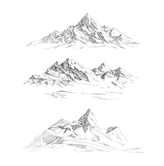 Mountain ranges in engraving style. panorama vector.