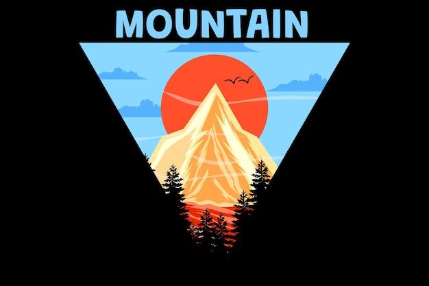 山のレトロなヴィンテージデザイン