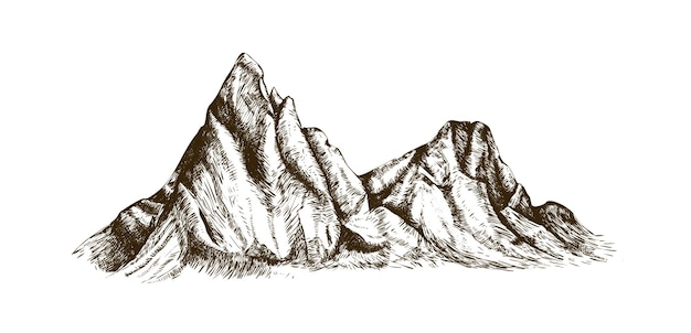 Горный хребет или диапазон рисованной с контурными линиями на белом фоне. элегантный старинный рисунок скалистого обрыва, пика или природного рельефа. монохромные векторные иллюстрации в стиле ретро гравюры.