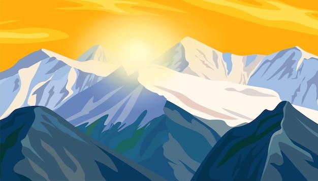 日没のイラストで山の尾根