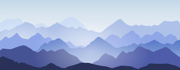 Mountain ridges and hills silhouette landscape background. abstract morning mountains panorama, beautiful nature scene vector illustration. peaks in mist or blue fog and cold sunlight