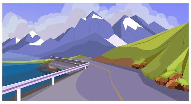 Mountain road with railing illustration