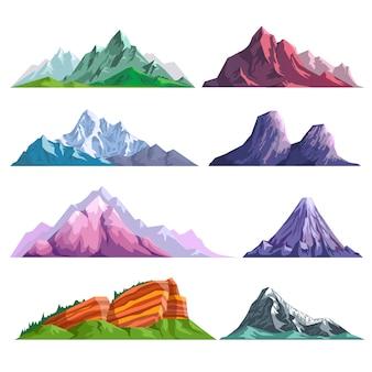 Горные скалы или альпийские горы холмы природа плоские изолированные иконки набор