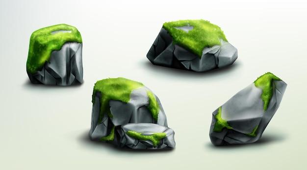 Горные скалы с зелеными моховыми камнями или валунами, природные элементы для дизайна, геологические материалы с реалистичной текстурой, изолированные скалистые куски различной формы, набор иллюстраций