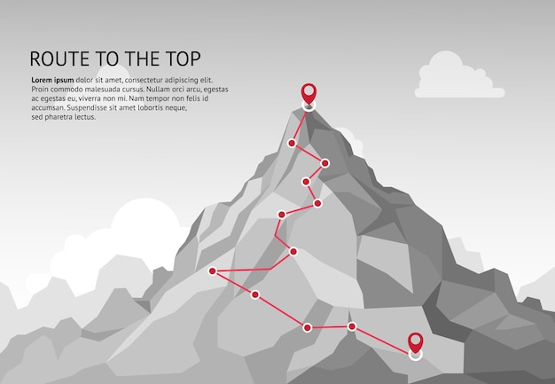 Mountain route infographic. journey challenge path business goal career growth success climbing mission. mountains path steps  concept