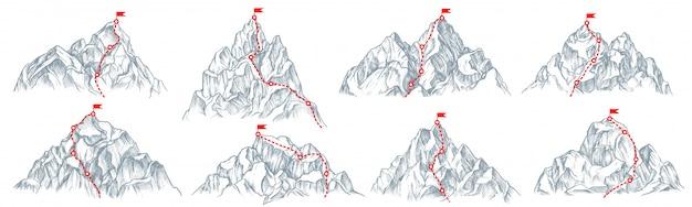 山道セット。トップコレクションのフラグと孤立した登山ルート。山頂道、進行方向。ベクトルビジネスの成功と目標の概念