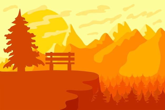 산의 산림 보호 구역 및 공원 벤치
