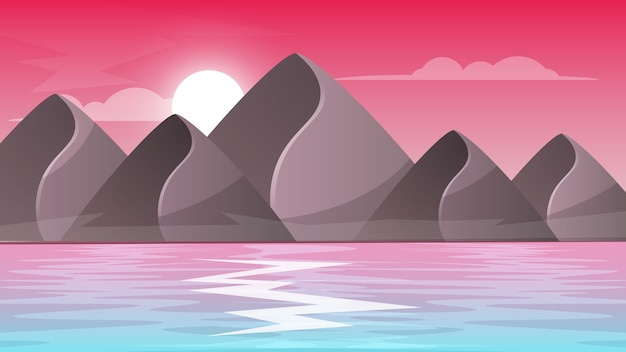 Горный, морской - пейзаж мультфильма.