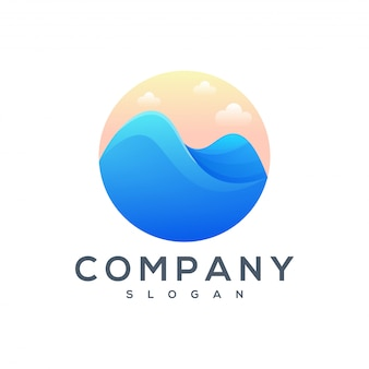 Mountain sea logo design