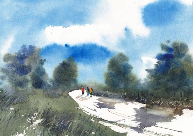 산 쪽 풍경 수채화 물감