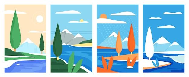 Горный простой пейзаж природа набор иллюстрации
