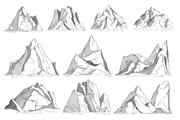 山のスケッチ。手描きの岩が多い峰のスケッチ。分離されたベクトル崖セット。ハイランド山脈景観コレクション。刻まれたスタイルで手描きの山の尾根の輪郭図