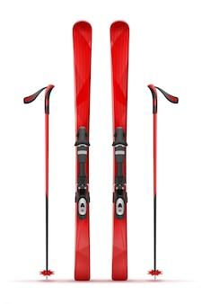 Горные лыжи и палки.