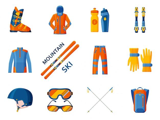 山の空のコレクション。道具、ウェア、靴をセットします。図。