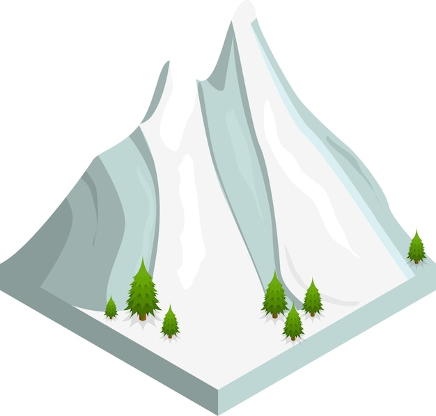 ゲーム、webまたはアプリの山雪風景アイソメビュー。ベクトルイラスト