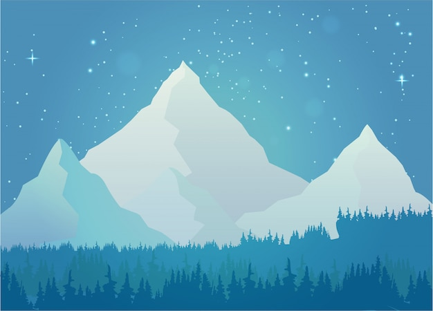 Mountain snow at night landscape