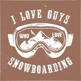 ゴーグルエンブレムと山のスノーボードのロゴ