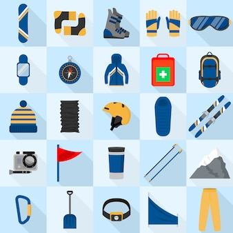 Mountain snowboarding equipment icons set, flat style