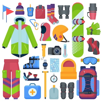 Mountain snowboarding equipment set.