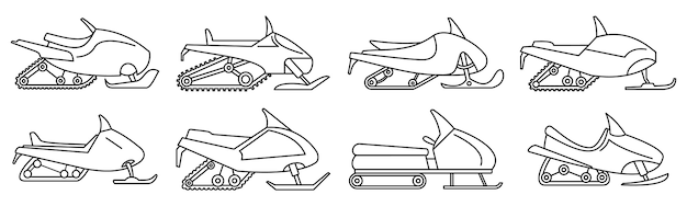 Mountain snowmobile icon set