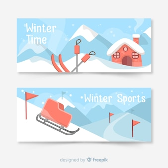 Mountain station winter banner