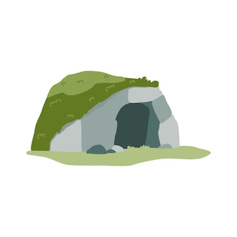 Mountain stone cave entrance to prehistoric human dwelling, flat vector illustration isolated on white background. caveman of stone age primitive ancient dwelling.