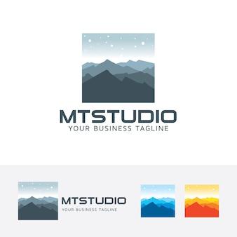 Mountain studio and landscape logo template