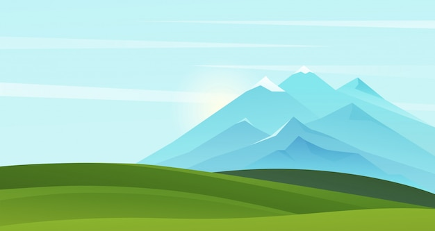 Mountain summer landscape illustration. cartoon mountainous natural simple scenery background with green grass scenic fields on hills and mountains on horizon, sunny nature scene summertime