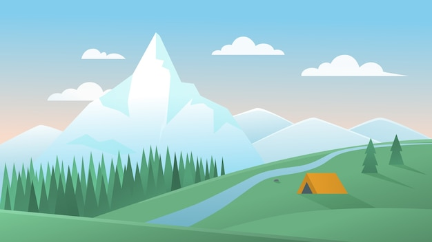 Mountain summer landscape  illustration. cartoon  peaceful mountainous nature scenery with tourist tent camping on green meadow hill, pine forest and river, natural summertime background